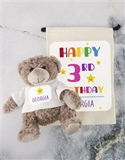Teddy in Birthday Drawstring Bag