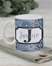Personalised Blue Initial Mug Set