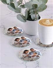 Personalised Christmas Photo Coasters