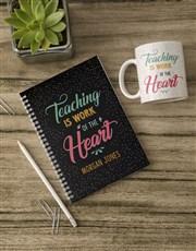 Personalised Work Of Heart Notebook