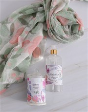 Personalised Scarf and Pink Floral Bath Gift Set