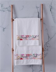 Personalised Floral White Towel Set