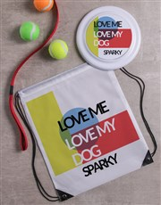 Personalised Love my dog Frisbee and Bag