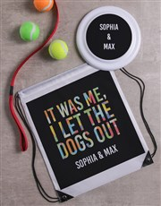 Personalised Let Dogs Out Frisbee and Bag