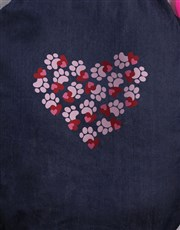Personalised Paws and Hearts Denim Bed
