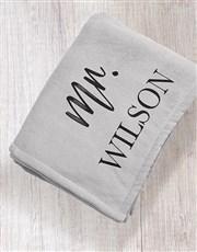 Personalised Modern Man Grey Blanket