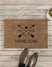 Personalised Love Arrows Date and Surname Doormat