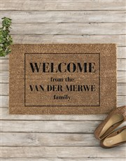 Personalised Welcome Family Doormat