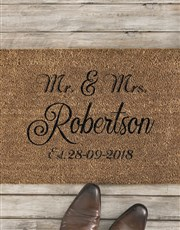 Personalised Mr And Mrs Date Doormat