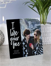 Personalised I Like Your Face Glass Tile