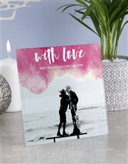 Personalised With Love Glass Tile