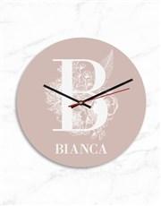 Personalised Pink Monogram and Name Clock