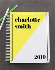 Personalised Yellow Diagonal Goal Journal