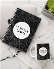 Personalised Charcoal Marble Notebook