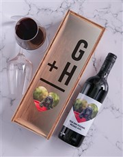 Personalised Photo Heart Red Wine and Crate