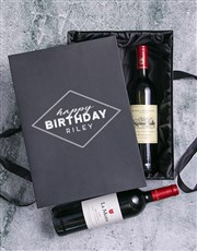 Personalised Happy Birthday Red Wine Duo