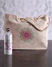 Personalised Mendhi Waterbottle and Tote