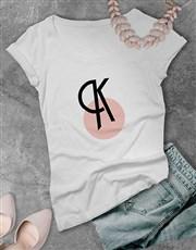 Personalised Pink Circle Initial Ladies T Shirt