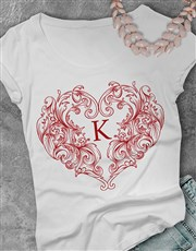 Personalised Valentines Heart Ladies T Shirt