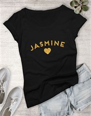 Personalised Glitter Initial Ladies T Shirt