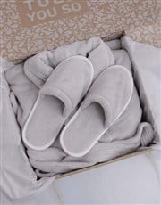 Personalised Grey Fleece Gown And Slipper Set