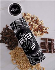 Personalised Never Give Up Biltong and Nut Tube
