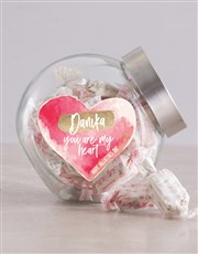 Personalised Watercolour Heart Candy Jar
