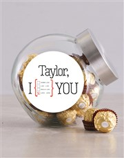 Personalised I Love Love You Candy Jar