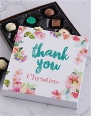 Personalised Floral Thank You Chocolate Tray