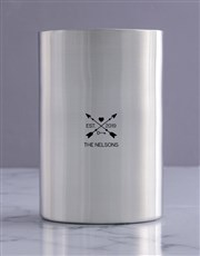Personalised Arrow Heart Silver Ice Bucket
