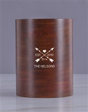 Personalised Arrow Heart Wooden Ice Bucket