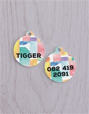 Personalised Blocks ID Tag And XS Collar