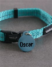 Personalised Blue ID Tag And XS Collar