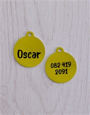 Personalised Yellow ID Tag And Pink Cat Collar