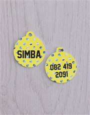 Personalised Yellow ID Tag And Polka Cat Collar