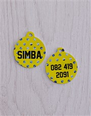Personalised Blue Polka ID Tag And XS Collar