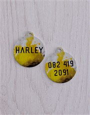 Personalised Yellow Paint ID Tag And Collar