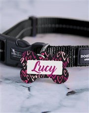 Personalised Bone Heart ID Tag And Collar