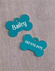 Personalised Blue Bone ID Tag And Collar