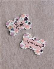 Personalised Bone Rose ID Tag And Collar