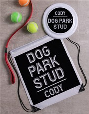 Personalised Dog Park Frisbee And Bag