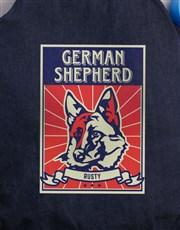 Personalised German Shepherd Denim Bed And Bowl
