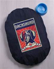 Personalised Dachshund Denim Bed And Bowl