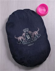 Personalised Queen Of The House Denim Bed And Bowl