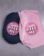 Personalised Bite Me Dog Bed And Blanket