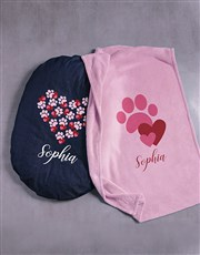 Personalised Pawprint Hearts Dog Bed And Blanket