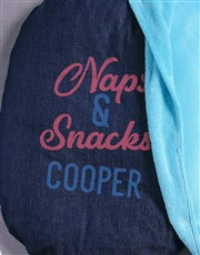 Personalised Naps And Snacks Dog Bed And Blanket