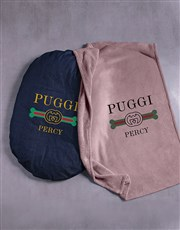 Personalised Puggi Dog Bed And Blanket