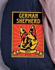 Personalised Taupe German Shepherd Bed And Blanket