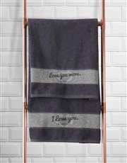 Personalised Love You Charcoal Towel Set